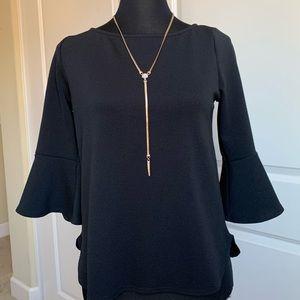 Black Bell Sleeve Blouse Top